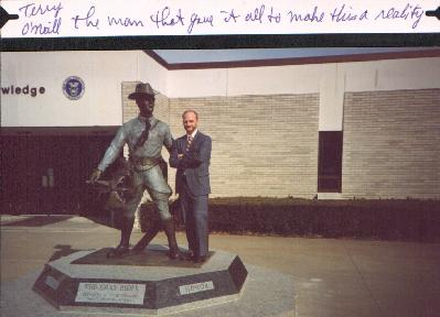 Terry with Grey Rider Statue